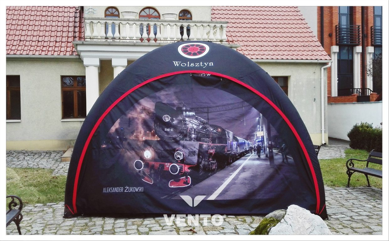 Constant pressure VENTO tent with sublimation printing.