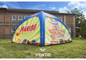 Constant pressure tent with Haribo graphic.