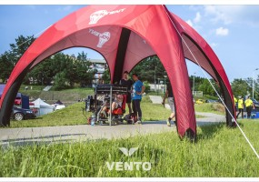 VENTO tent during an event in city park.