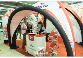 Advertising stand with branding: tent and advertising VENTO counter.